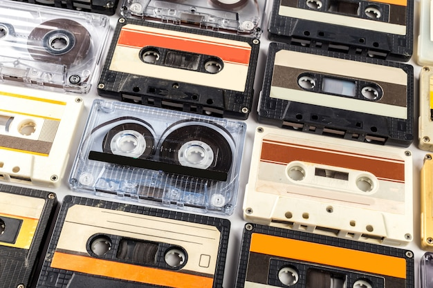 Vintage cassette tape isolated white