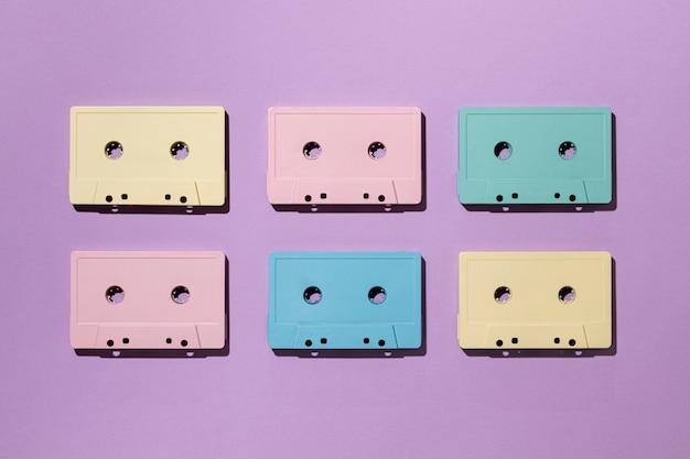Vintage cassette tapes arrangement