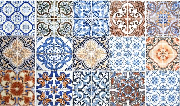 Винтажная предпосылка украшения стены керамической плитки.
