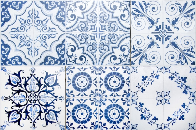 Vintage ceramic tiles wall decoration. turkish ceramic tiles wall background