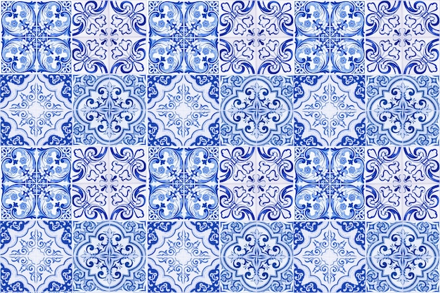 ヴィンテージセラミックタイルの壁の装飾。トルコのセラミックタイルの壁の背景