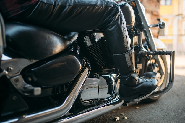 Vintage chopper with chrome elements, bikers concept. black powerful motorbike, two-wheeled transport