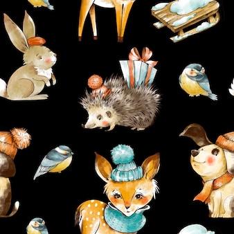 ヴィンテージクリスマスの赤ちゃん動物のシームレスなパターン。