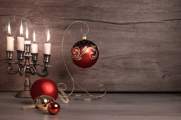 Vintage christmas decorations on wood,text space