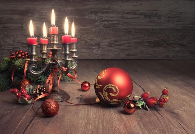 Vintage christmas decoratons on wood