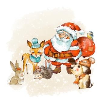 ヴィンテージのクリスマスグリーティングカード、サンタクロースとその仲間たち。休日のイラスト。