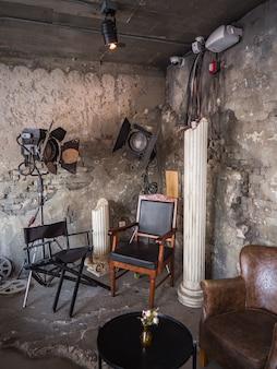 Vintage cinematic room. director chair