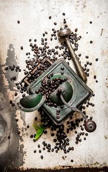 Vintage coffee grinder with pestle