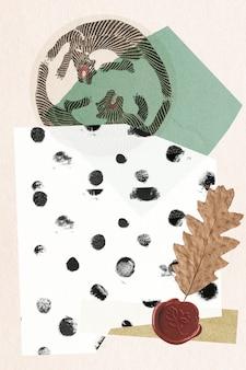 Vintage collage background illustration