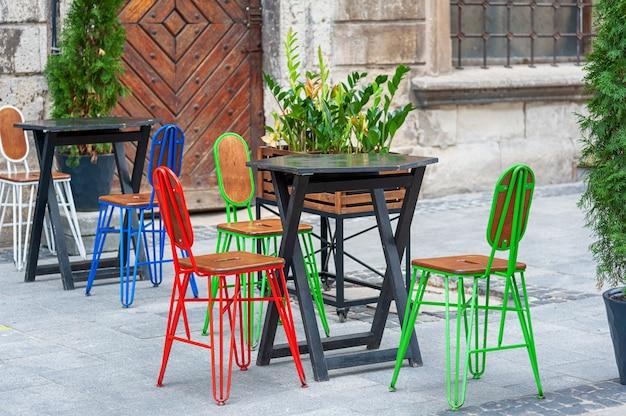 Vintage colorful street cafe trerrace