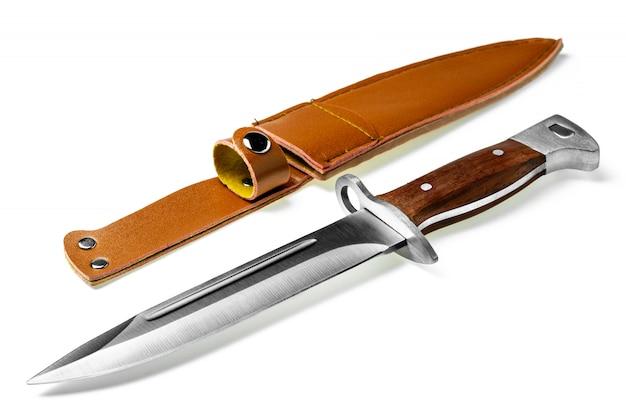 Vintage combat knife bayonet isolated on white