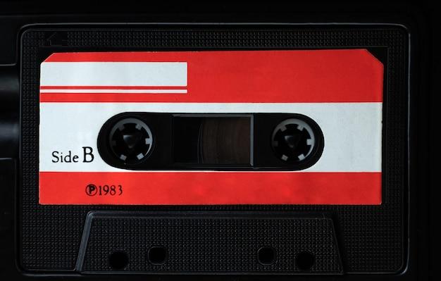 ヴィンテージコンパクトカセットテープ、古いオーディオテープのクローズアップセット
