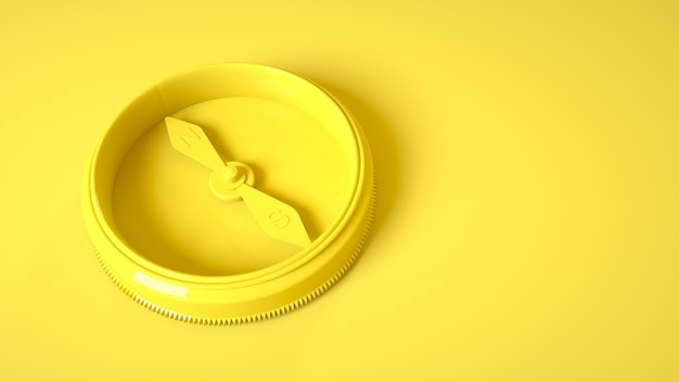Vintage compass on yellow. 3d rendering.