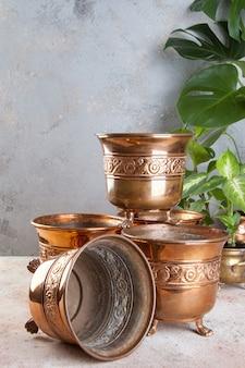 Vintage copper flower pots