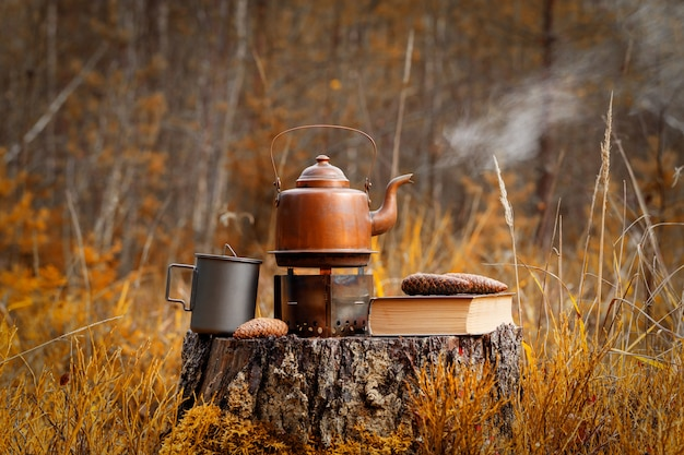 Vintage copper kettle on a tourist stove with a book and a titanium mug on a old tree stump in the forest