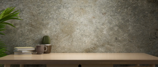 콘크리트 벽 배경 3d 렌더링의 램프에서 나오는 빛이 있는 나무 테이블의 빈티지 복사 공간
