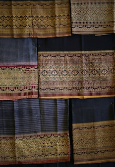 Vintage cotton fabric texture background, thai style