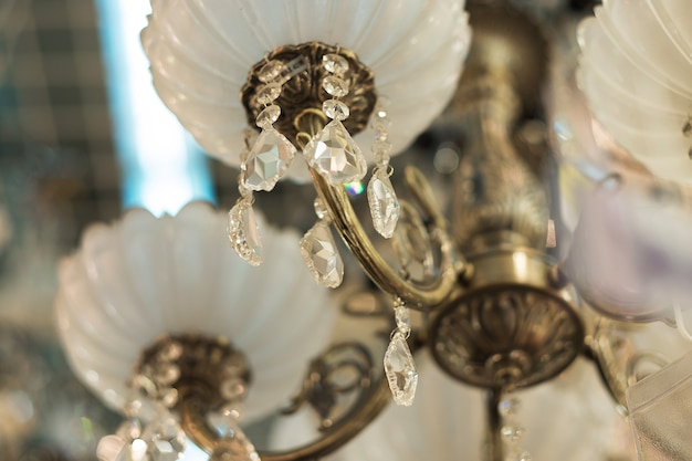 Vintage crystal lamp details, close up