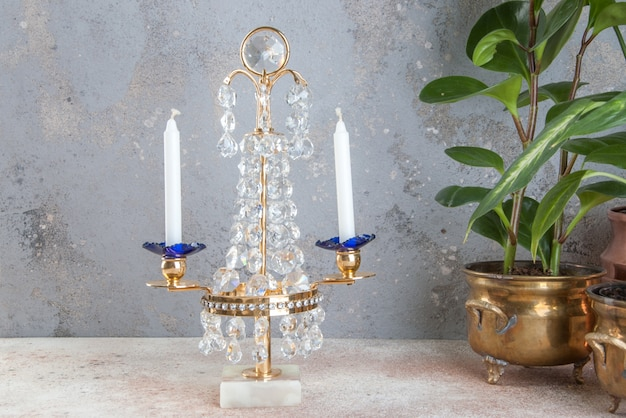 Vintage crystal metal candlestick for two candles