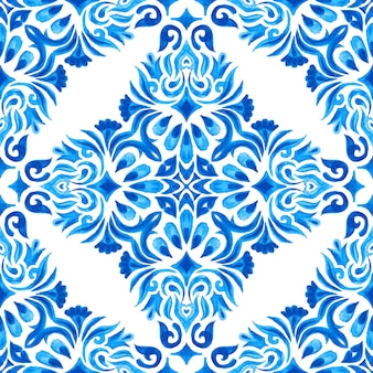Vintage damask seamless azulejo dutch tile ornamental watercolor arabesque design pattern for fabric. elegant luxury hand drawn texture for wallpapers, backgrounds and page fill blue and white
