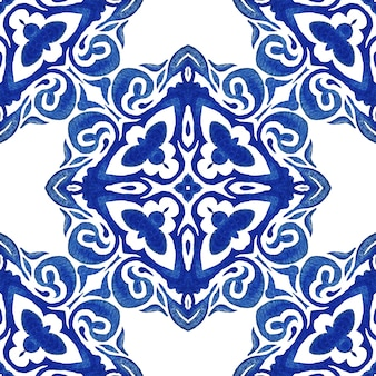 Vintage damask seamless azulejo dutch tile ornamental watercolor arabesque design pattern for fabric.