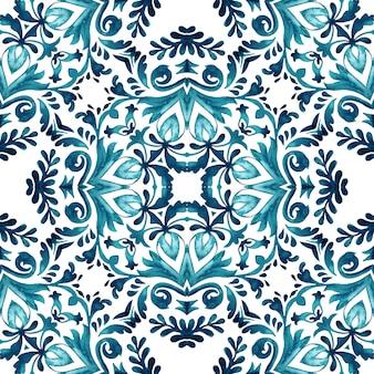 Vintage damask seamless ornamental watercolor arabesque paint tile design