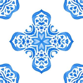 Винтаж дамасской бесшовные орнаментальные акварельные росписи плитки дизайн шаблона для ткани