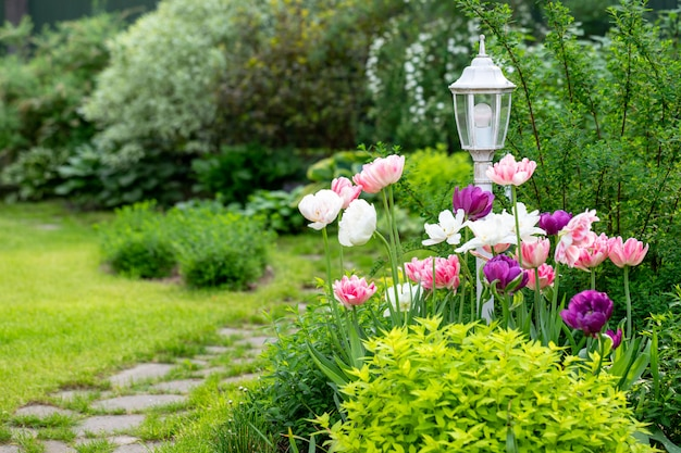 Vintage decorative garden lamp surrounded by blooming tulips, grass, bushes, stone walkway