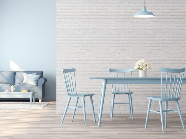 Винтажный интерьер столовой и гостиной с белой кирпичной стеной и синей мебелью 3d-рендеринга