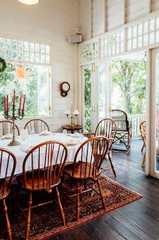 Vintage dinner table and vintage house
