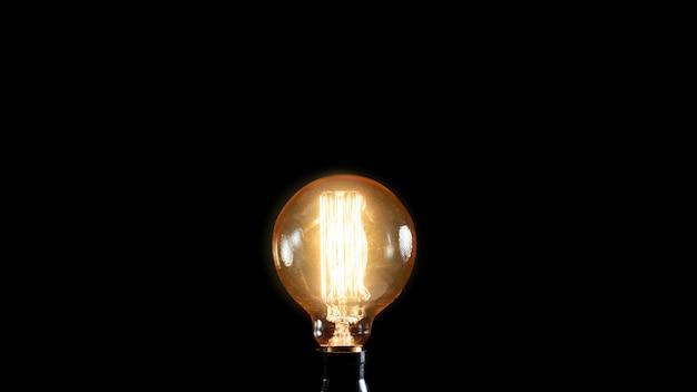 Vintage edison lamp on black