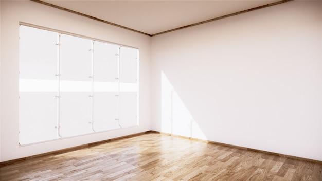 흰 벽 바탕에 나무 바닥과 빈티지 빈 방 인테리어. 3d 렌더링
