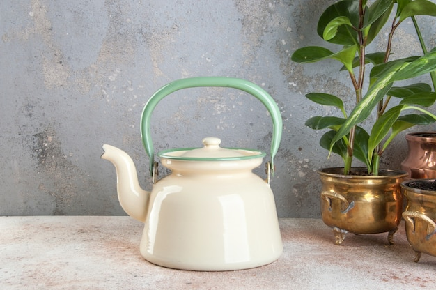 Vintage enamelled kettle