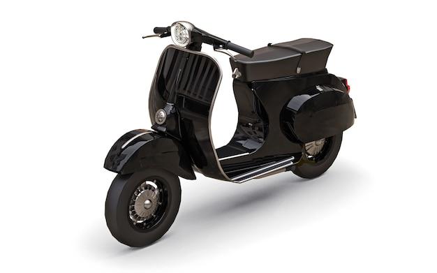 白い表面にヴィンテージのヨーロッパの黒いスクーター