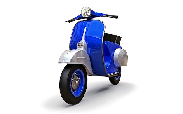 Vintage european blue scooter on a white background. 3d rendering.