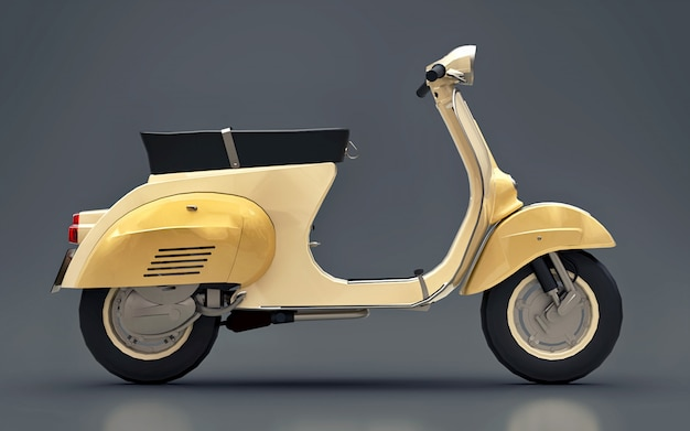 Vintage european gold scooter on a gray  . 3d rendering.