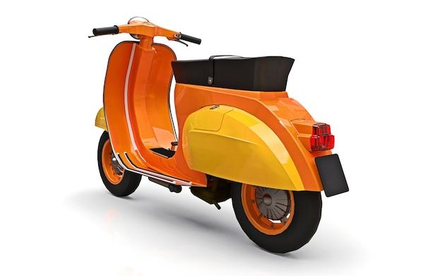 흰색 바탕에 빈티지 유럽 오렌지 스쿠터입니다. 3d 렌더링.