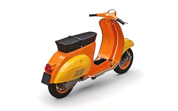 白い背景の上のヴィンテージのヨーロッパのオレンジ色のスクーター。 3dレンダリング。
