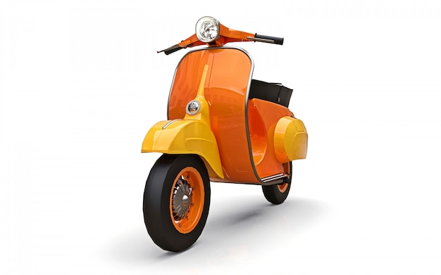 Vintage european orange scooter on a white background. 3d rendering.