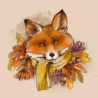 ヴィンテージ秋のイラスト。紅葉とどんぐりのブランチがかわいいキツネ。ウッドランド面白いキツネ