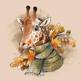 Винтажная иллюстрация падения. милый giaffe с осенними листьями и поздним завтраком желудей. сафари животное