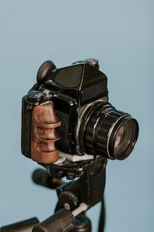 Vintage film camera on a tripod