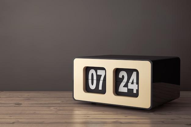 나무 테이블에 빈티지 플립 시계입니다. 3d 렌더링