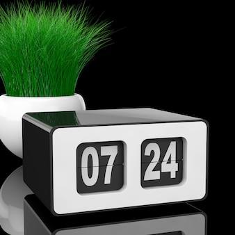 검정색 배경에 흰색 도자기 화분에 잔디와 빈티지 플립 시계. 3d 렌더링