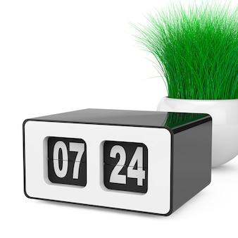 흰색 바탕에 흰색 도자기 화분에 잔디와 빈티지 플립 시계. 3d 렌더링