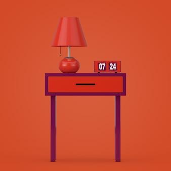 오렌지 배경 3d 렌더링에 오래 된 세련 된 테이블 위에 복고풍 밤 테이블 램프와 빈티지 플립 시계