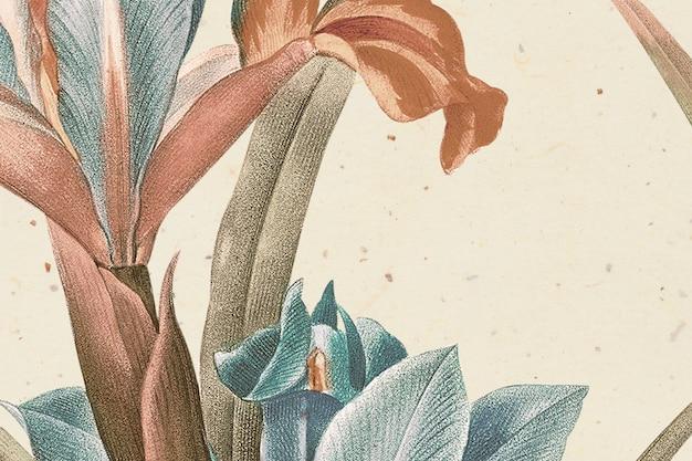 Sfondo floreale vintage con illustrazione di fiori di iris, remixato da opere d'arte di pubblico dominio