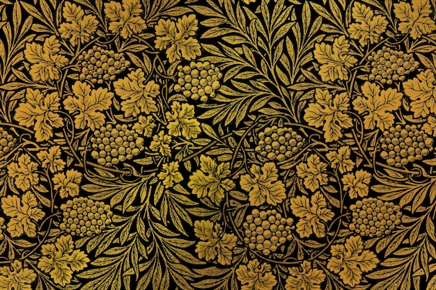 ウィリアムモリスによるアートワークからのヴィンテージの花柄の背景のリミックス