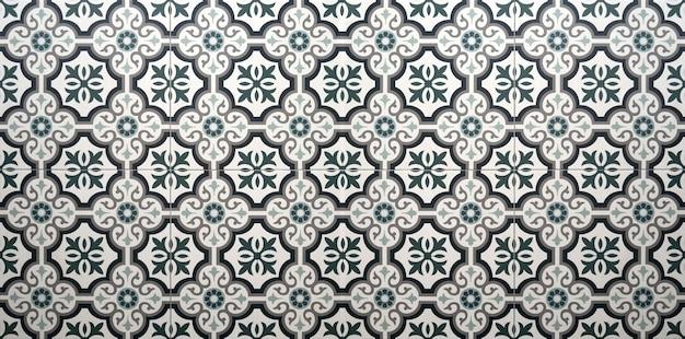 ヴィンテージ花柄セラミックタイル床装飾テクスチャ背景。