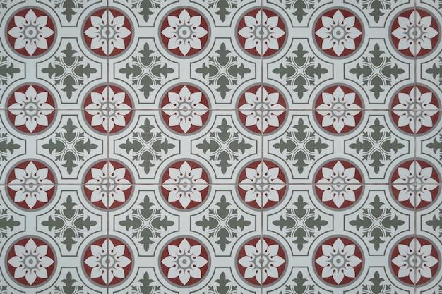 Vintage floral pattern tile floor.